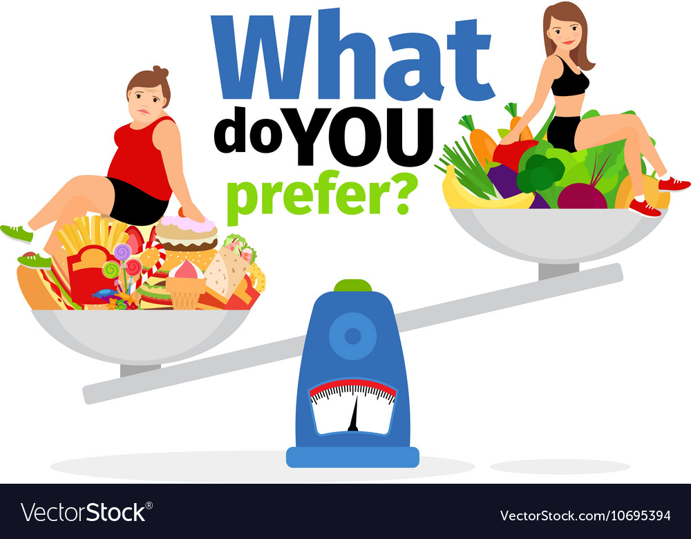 Unhealthy food and healthy vegan eating vector image