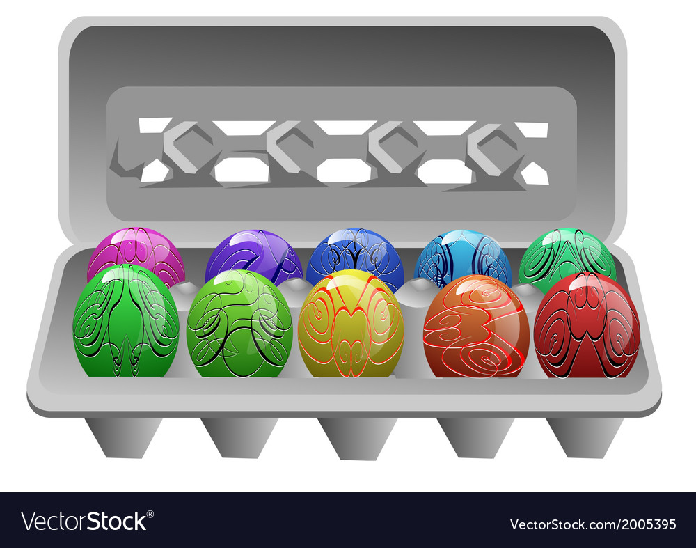 Carton with easter eggs vector image