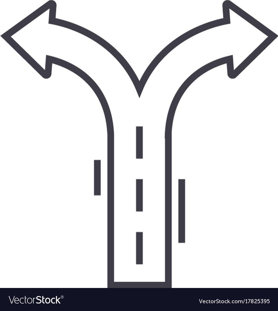 Crossroad arrows line icon sign vector image
