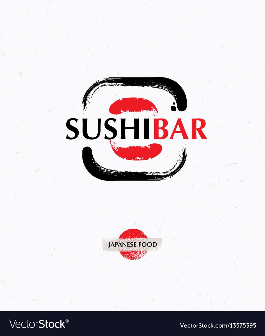 Trendy brush sushi logo creative sushi bar vector image