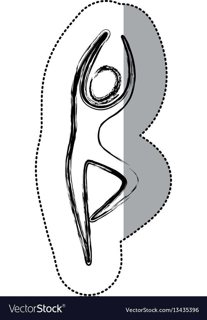 Sticker person dancing icon vector image