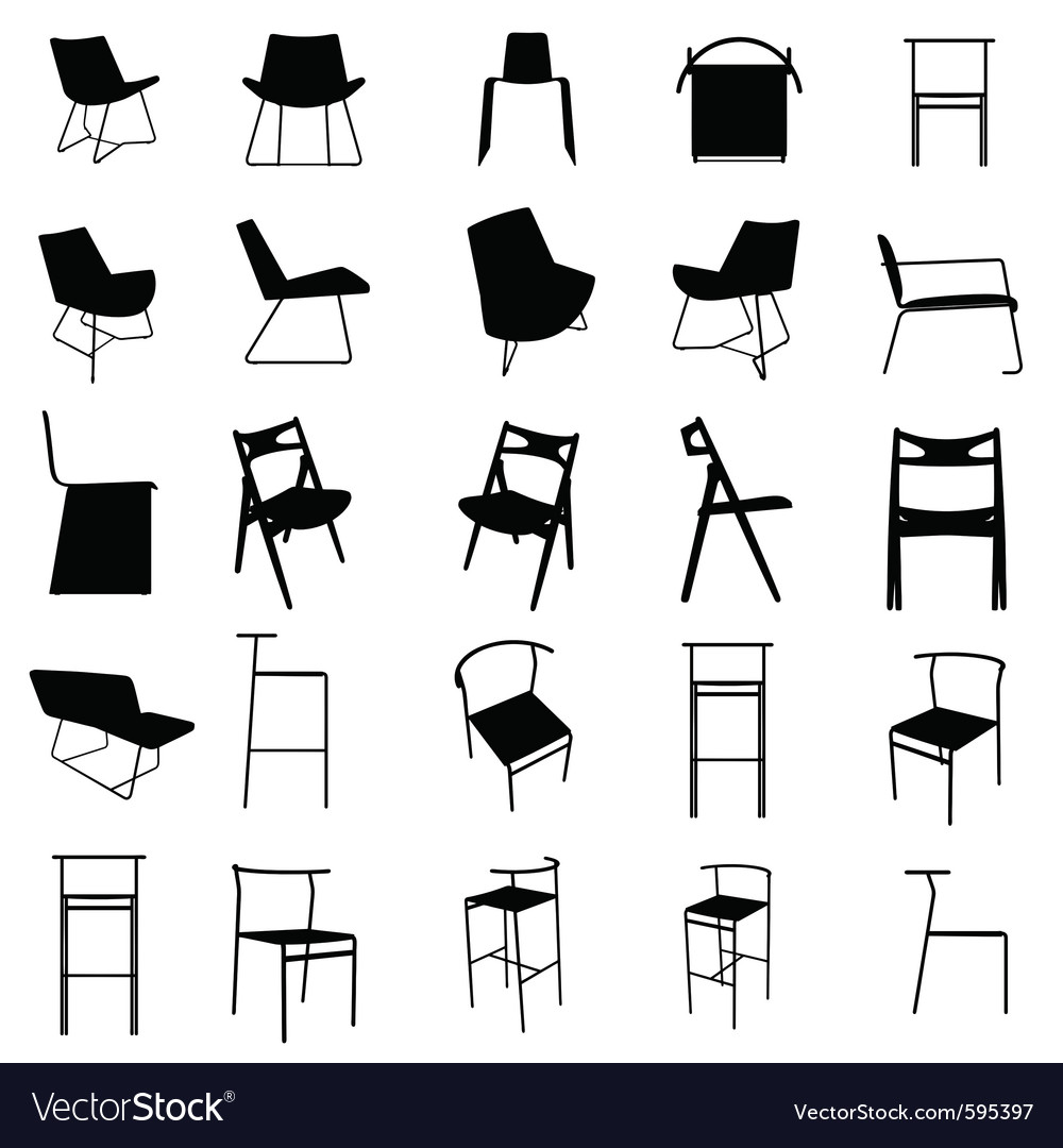 Modern Furniture Silhouette Royalty Free Vector Image Vectorstock