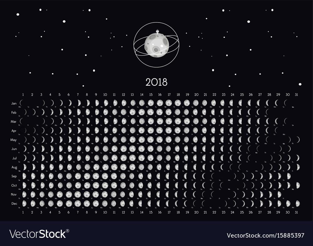 Moon calendar 2018 vector image