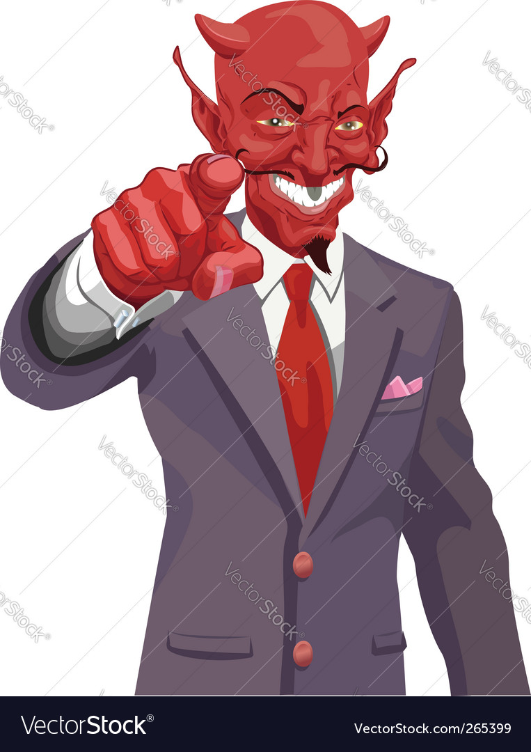 Devil pointing vector image