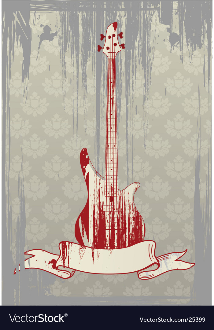 Grunge bass guitar vector image