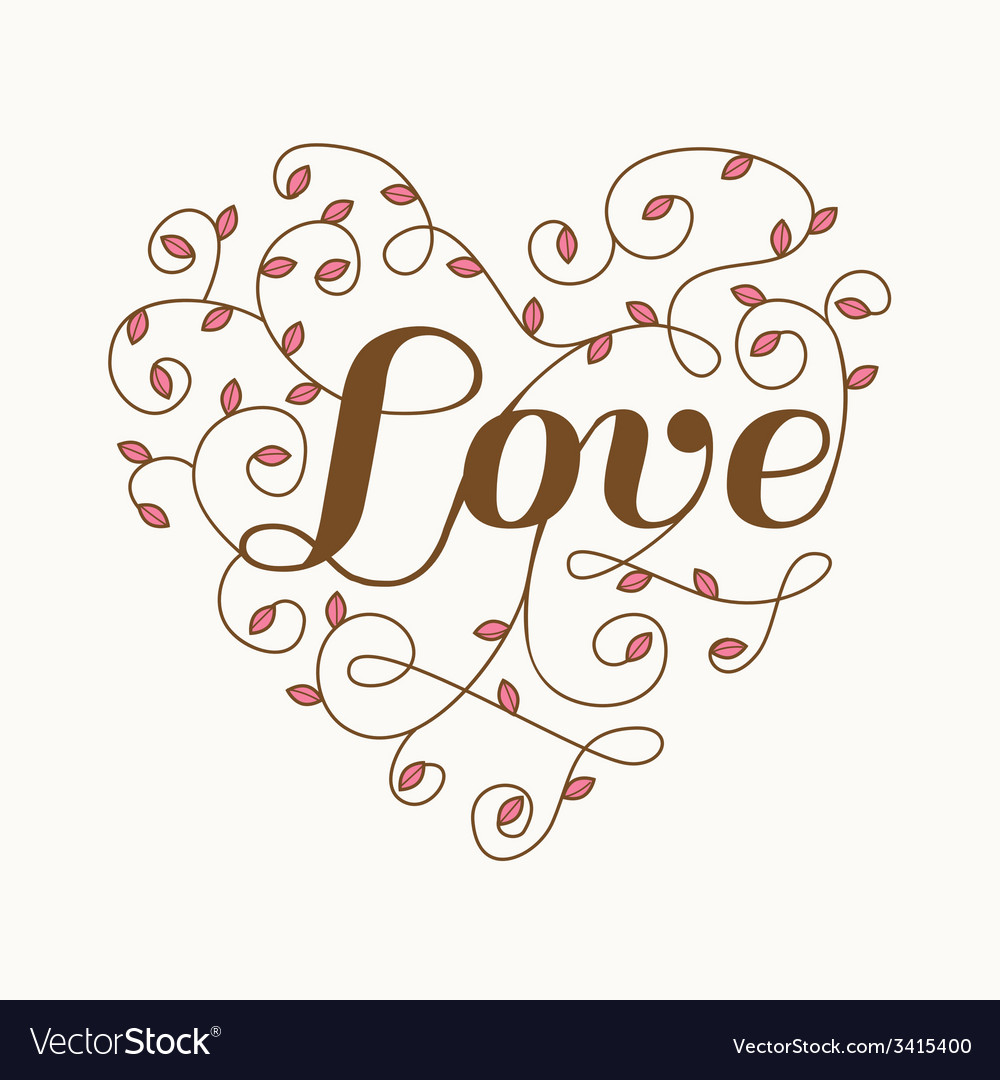 Floral Heart with Love Word - for Valentines Day vector image