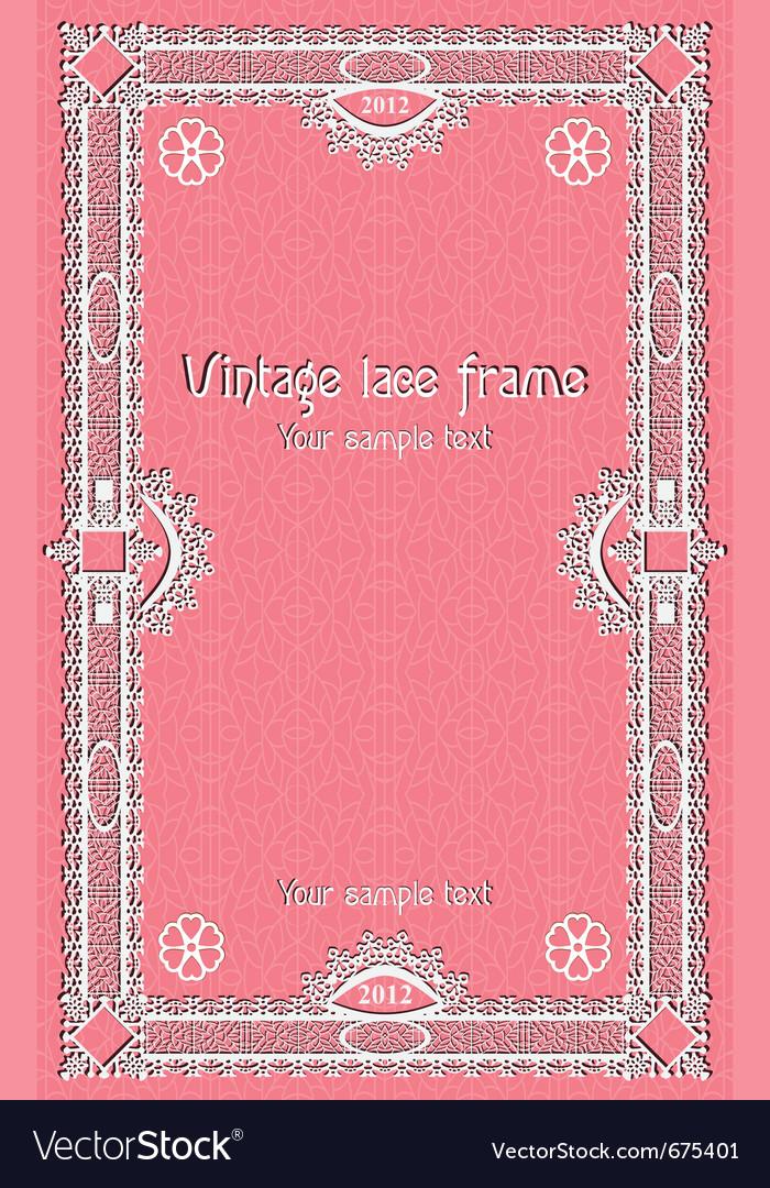 Template lace border frame design for card sertifi vector image