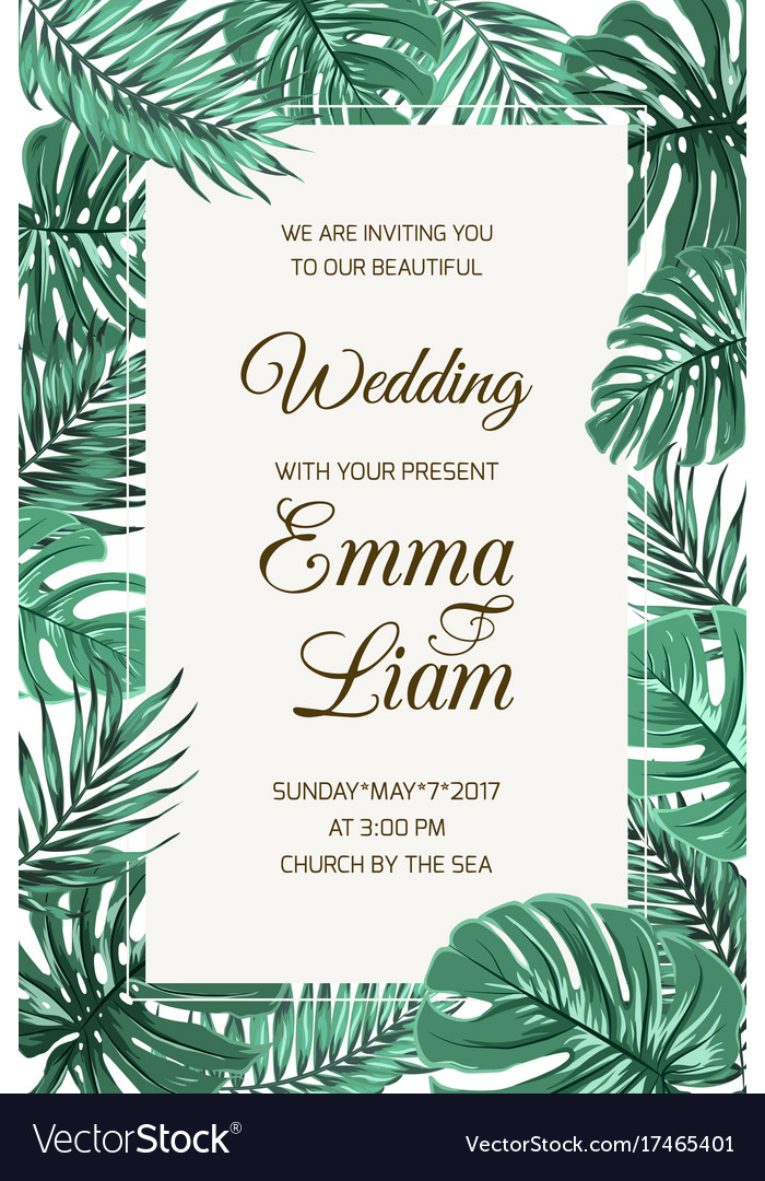 Wedding invitation card template tropical leaves vector image stopboris Images