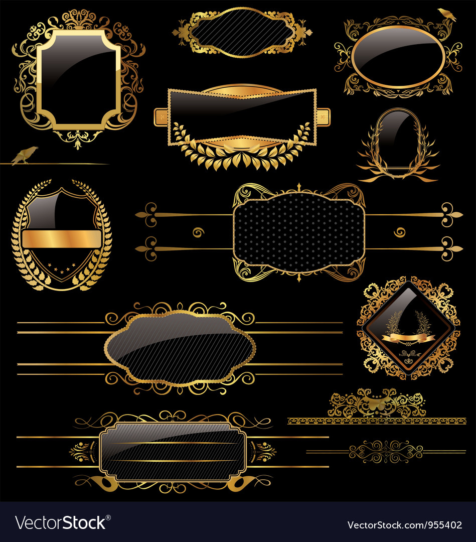 Elegant gold and black labels vector image