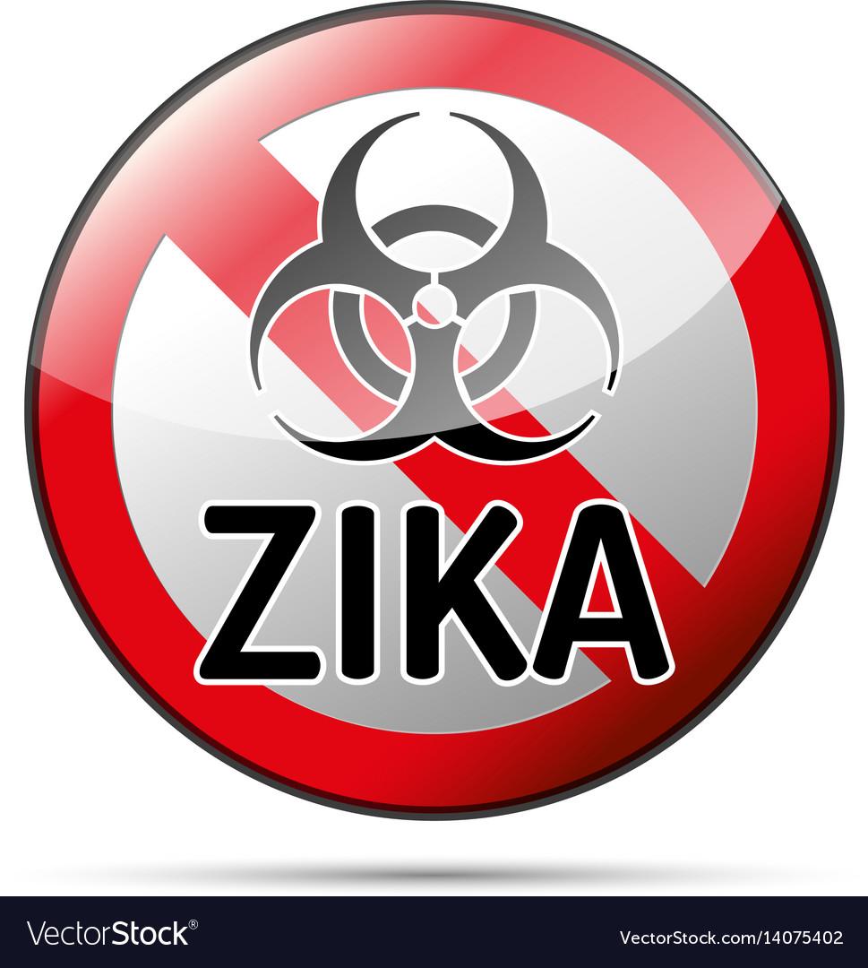 Zika virus biohazard danger sign with reflect and vector image