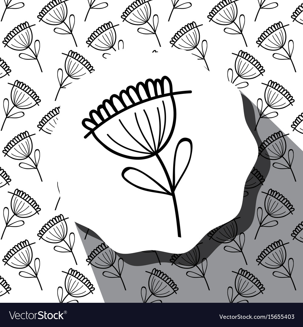 Emblem with flower with leaves and rustic vector image