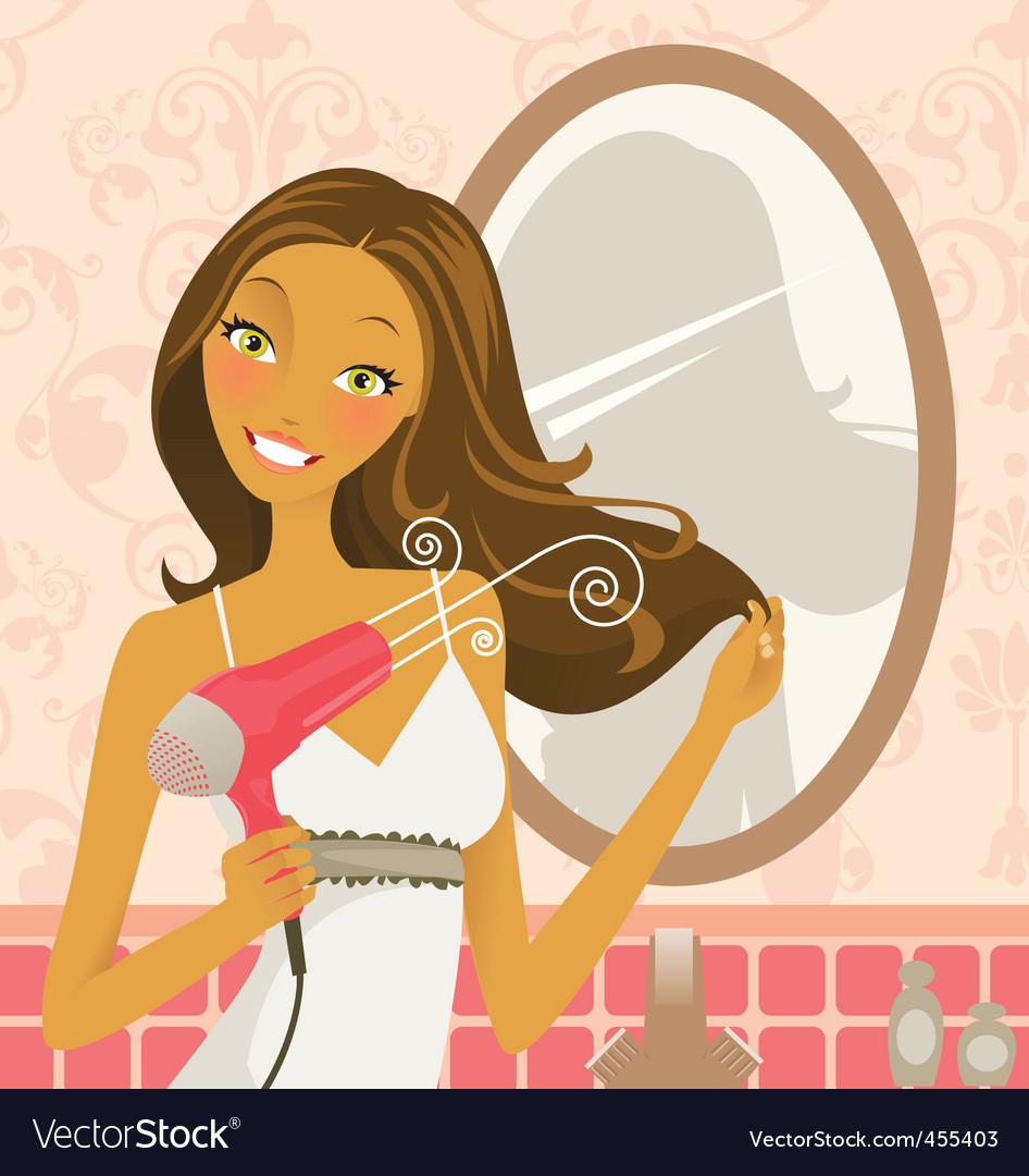 Hairdryer woman vector image