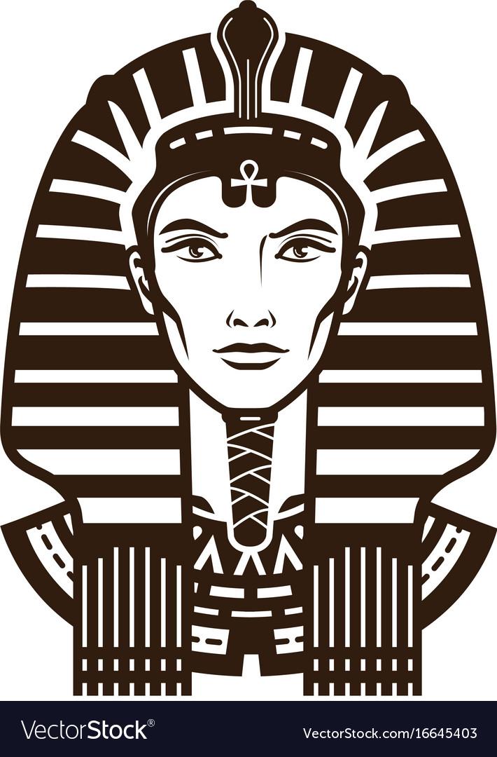 Portrait of pharaoh africa egypt egyptian logo vector image