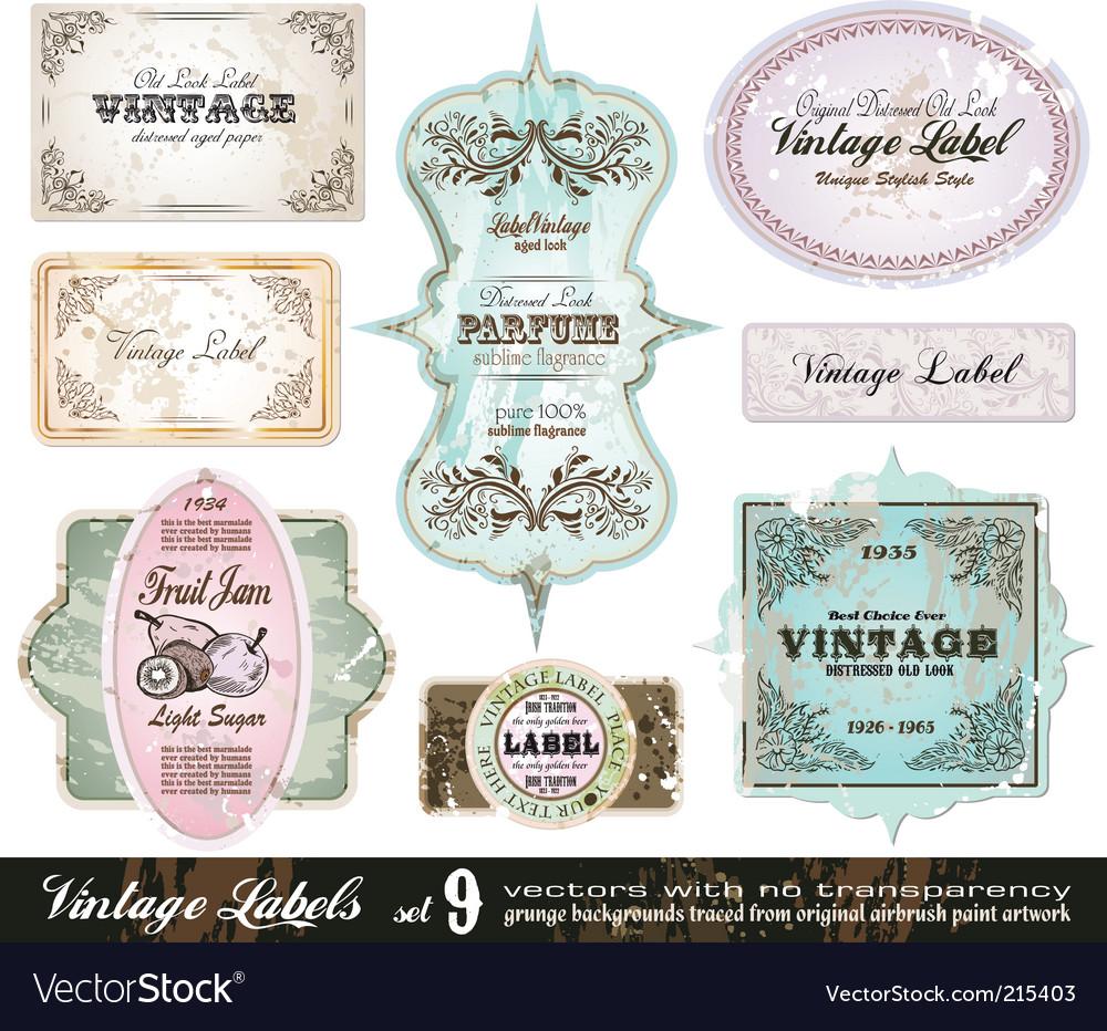 Vintage labels collection set vector image