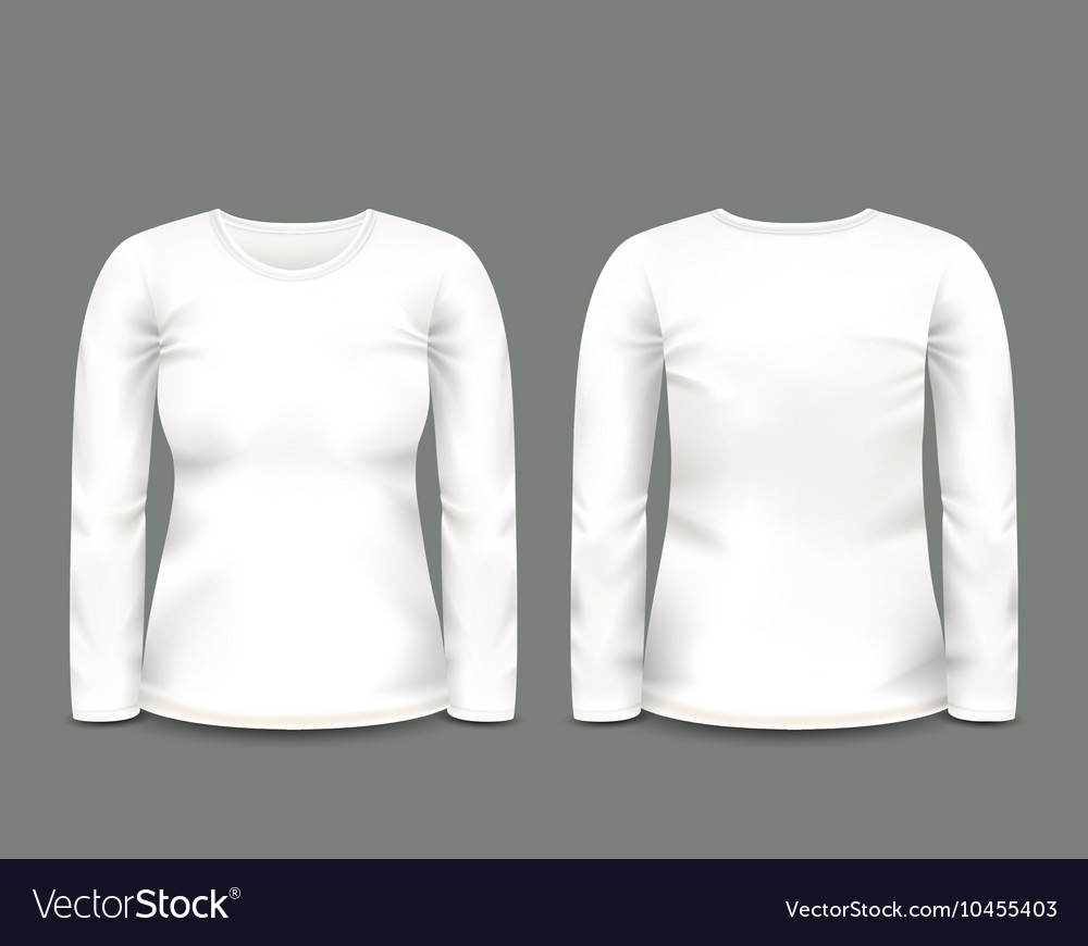 Womens white sweatshirt long sleeve vector image