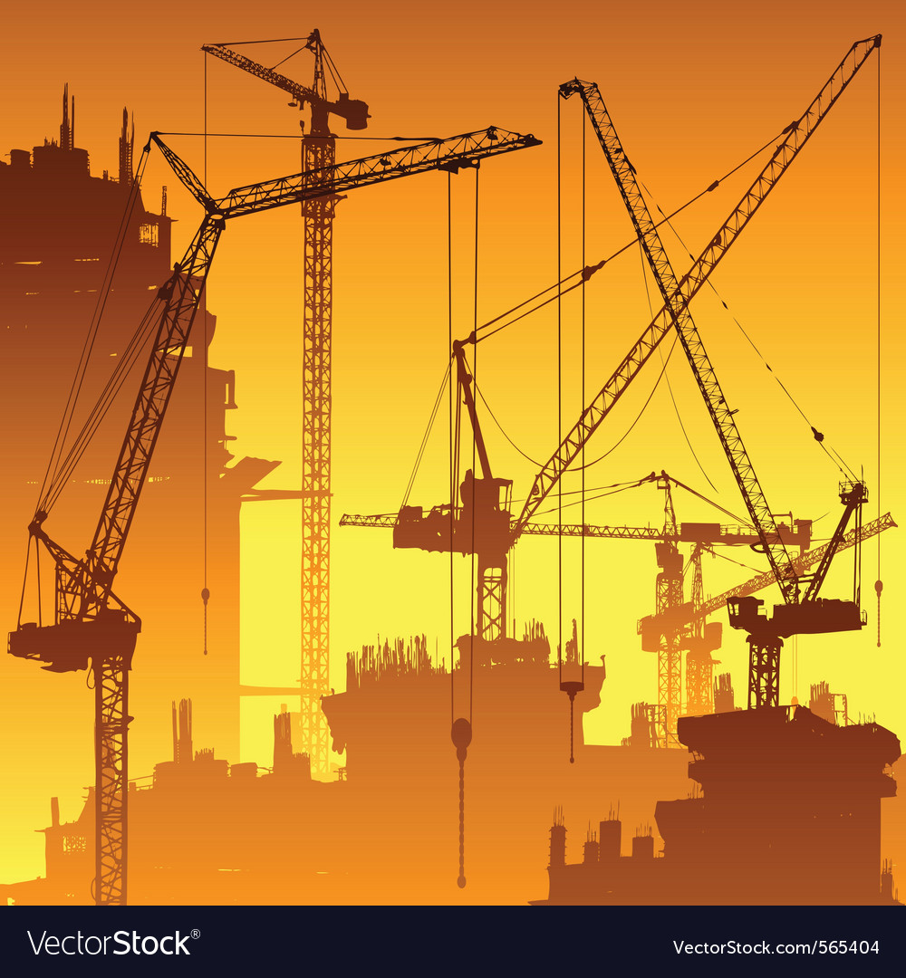 Tower cranes Vector Image