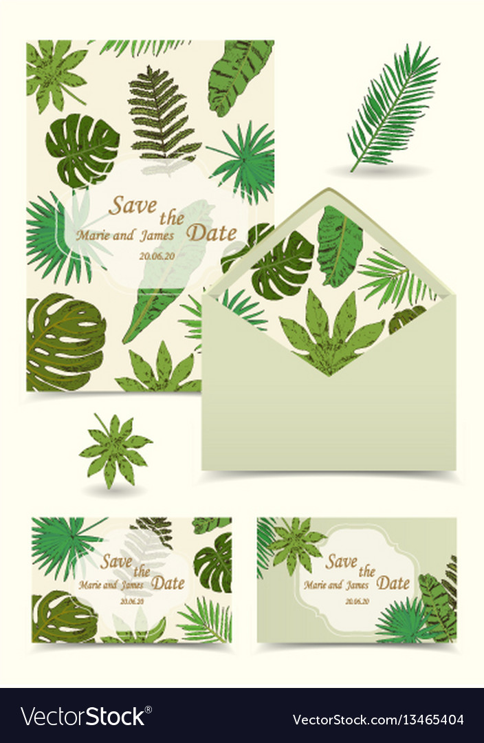 Floral tropical wedding set with isolated palm vector image