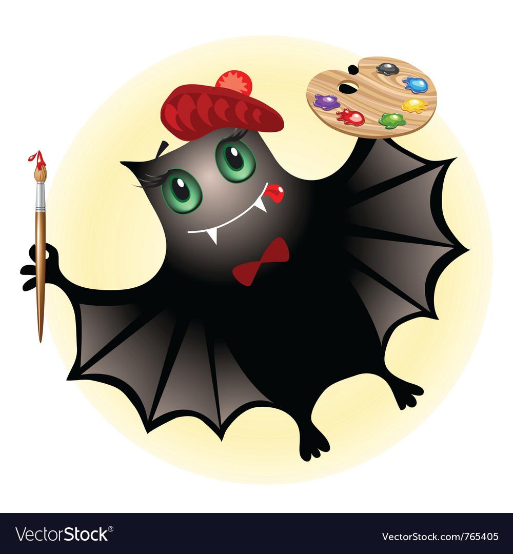Cute bat artist vector image
