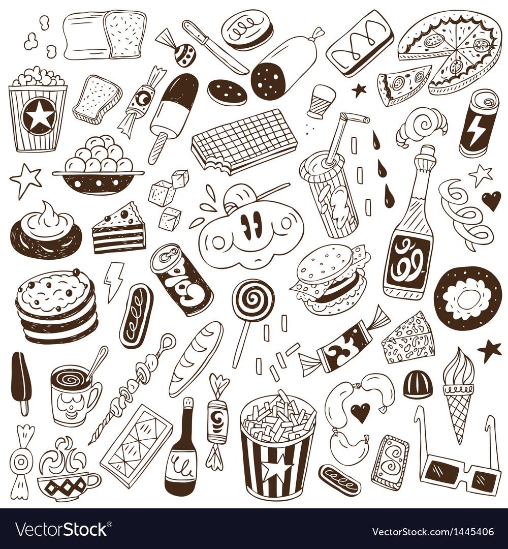 Fast food - doodles vector image