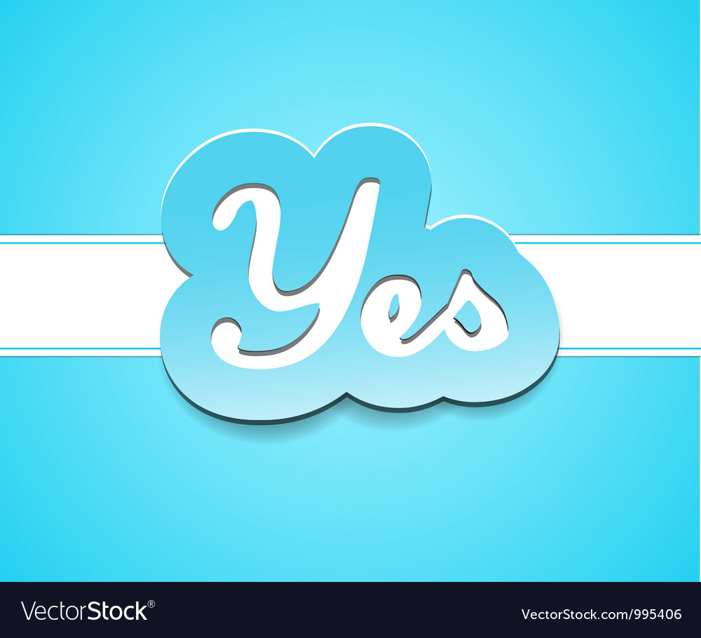 Simple yes text badge on blue background vector image