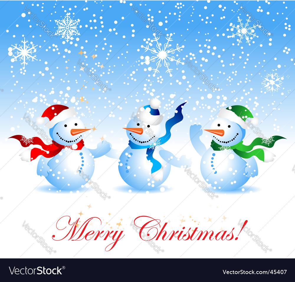 Christmas card snowman vector image