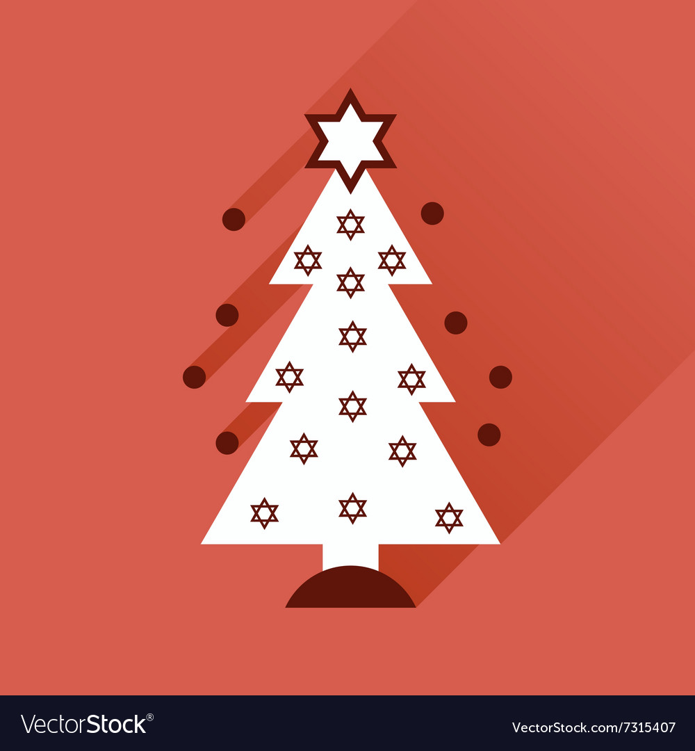 Flat icon with long shadow Hanukkah tree