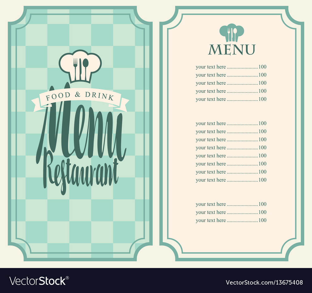 Menu for the restaurant with price list and toque vector image