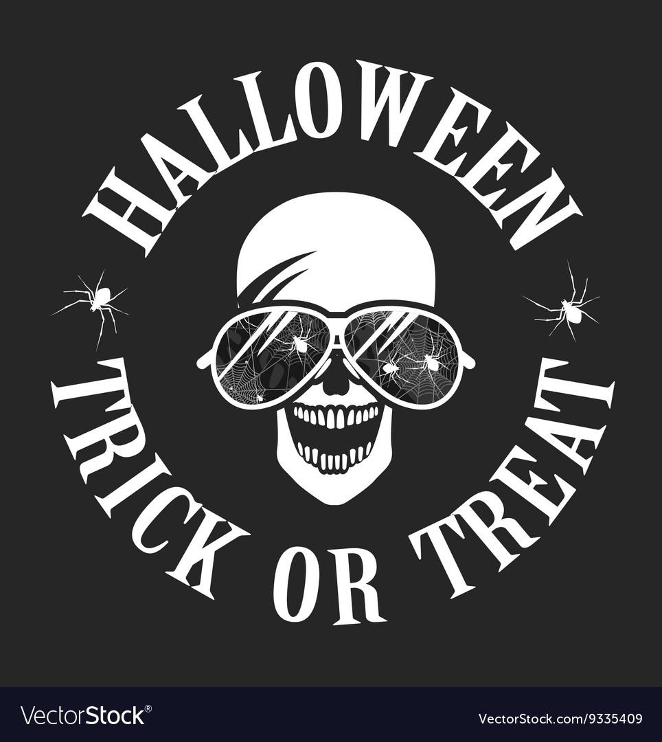 Halloween skull with glasses logo vector image