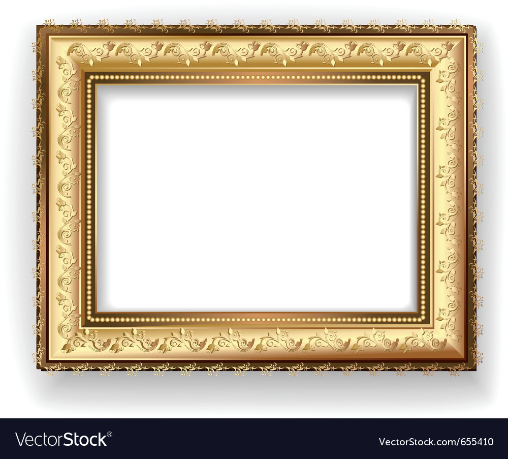 Wooden vintage gold frame vector image