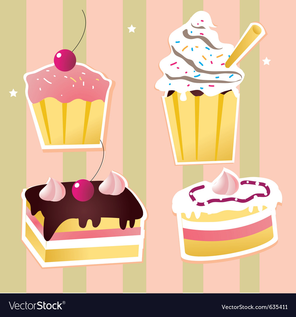 Colorful set of cakes vector image
