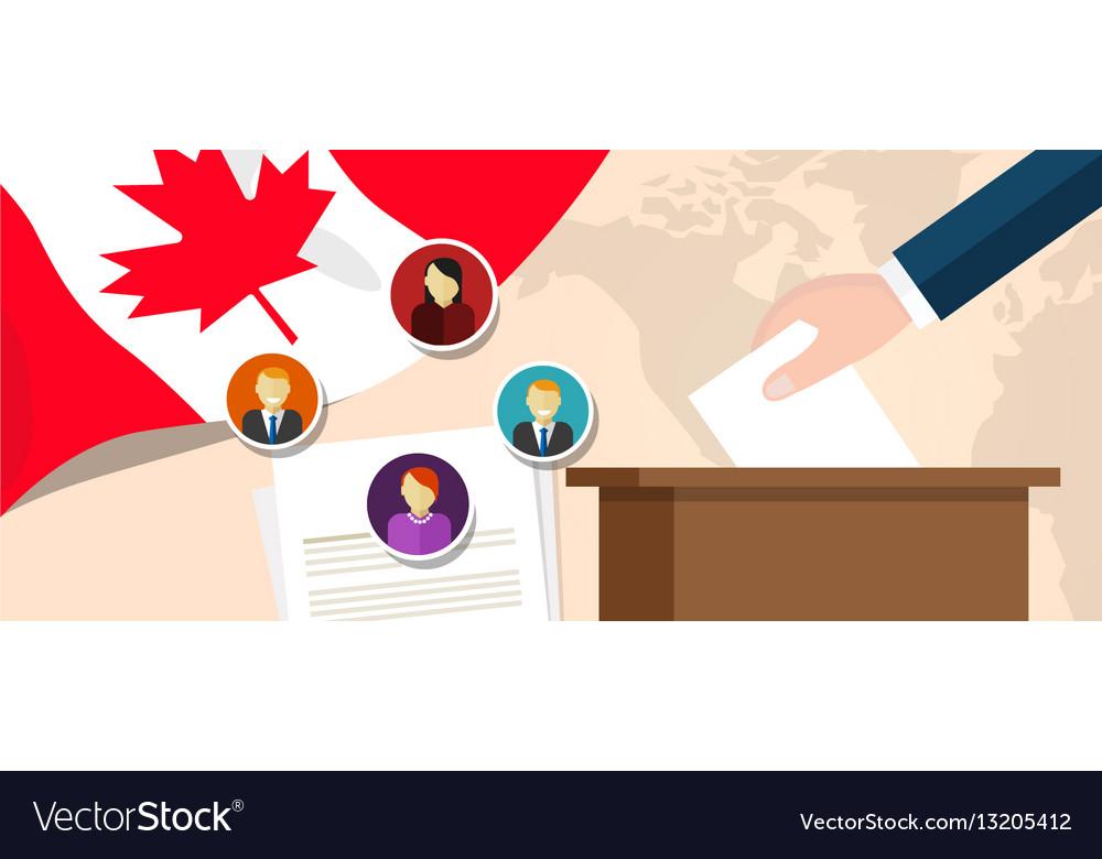 Canada democracy political process selecting vector image