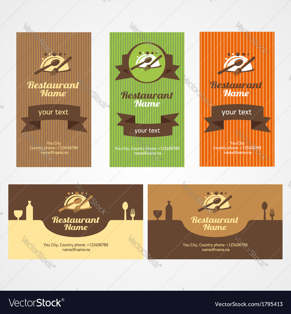 Food restaurant business card set Royalty Free Vector Image