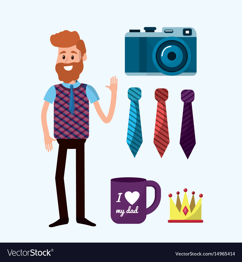 Father with things that usually use vector image