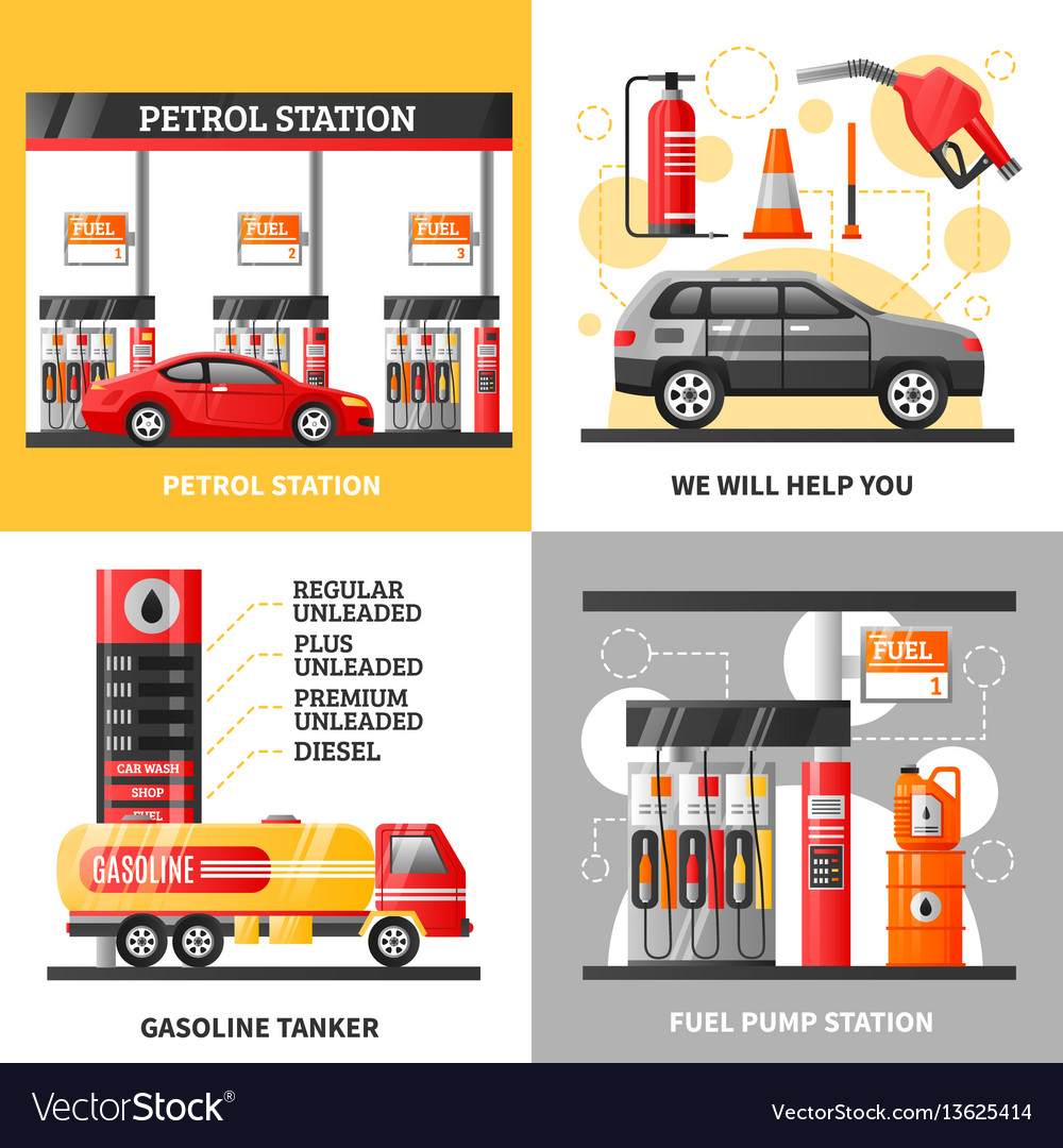 Gas and petrol station 2x2 design concept vector image