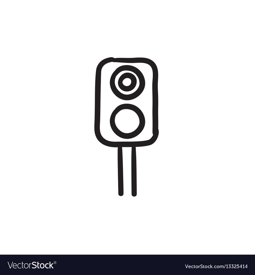 Railway traffic light sketch icon Royalty Free Vector Image for Traffic Light Sketch  181obs