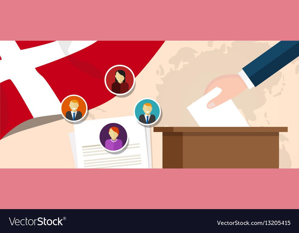Denmark democracy political process selecting vector image