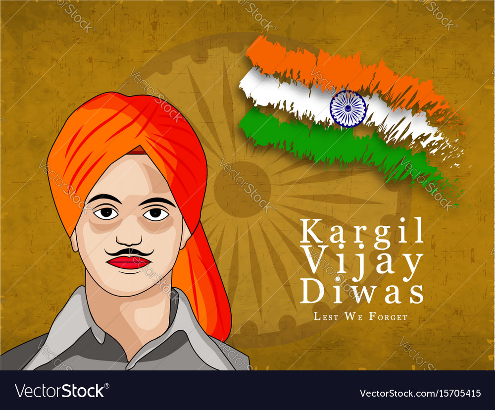 Kargil vijay diwasn 26th july vector image