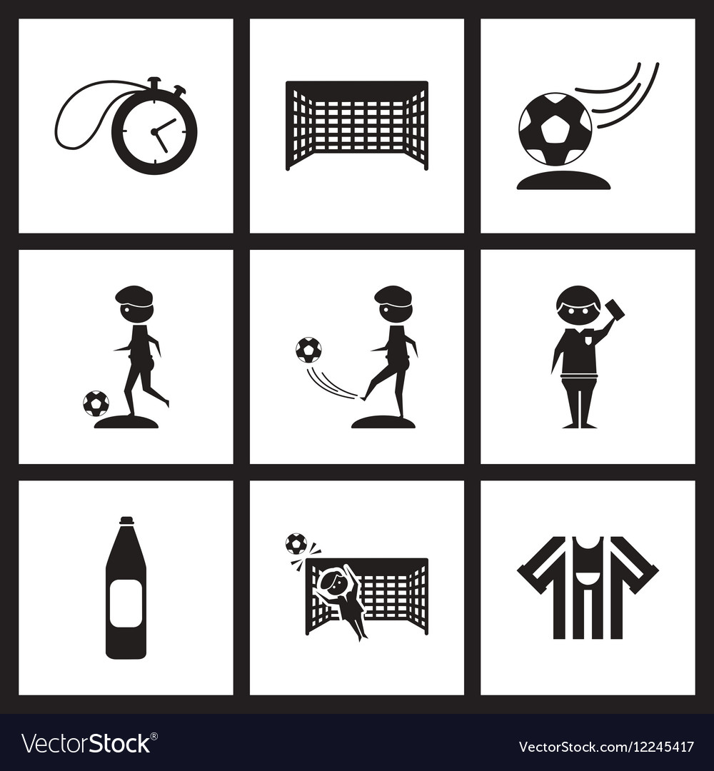 Concept flat icons in black and white football