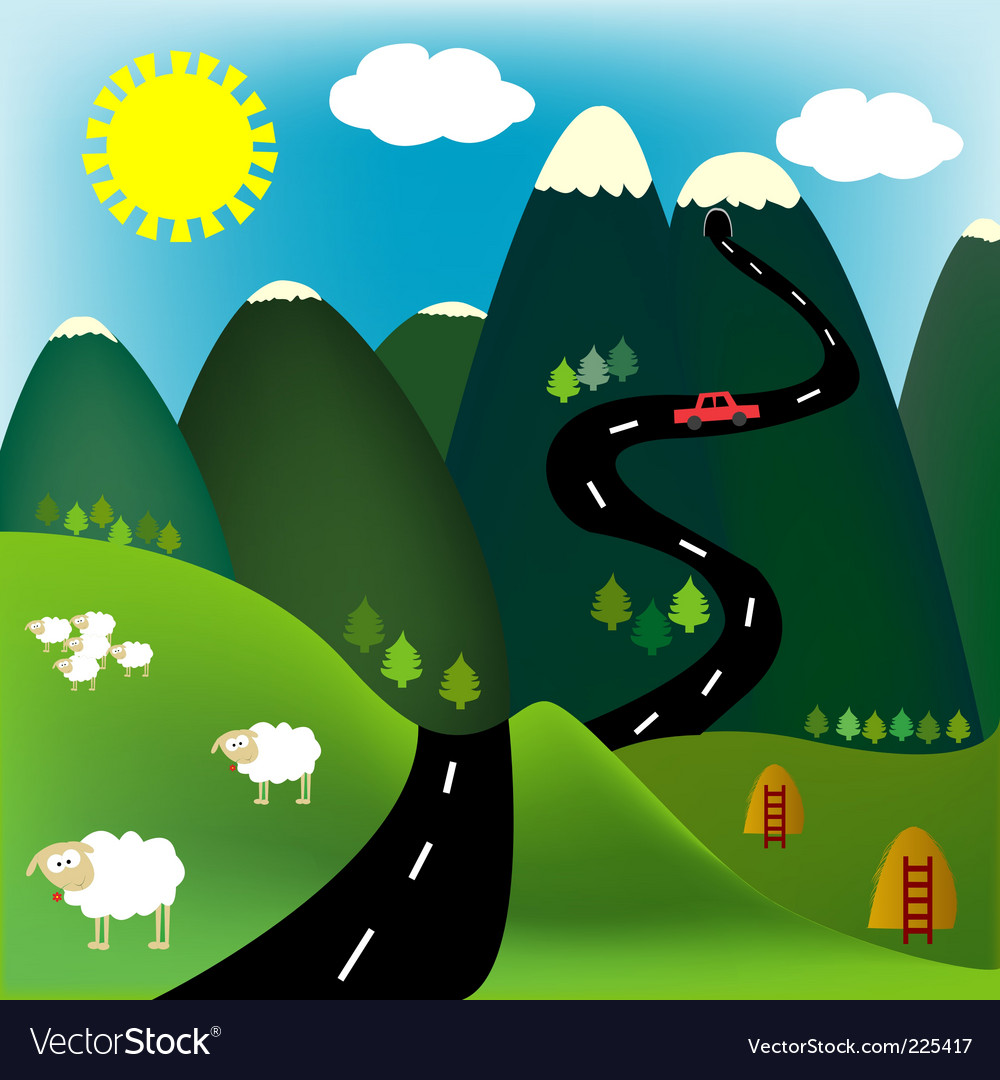 Cartoon mountain vector image