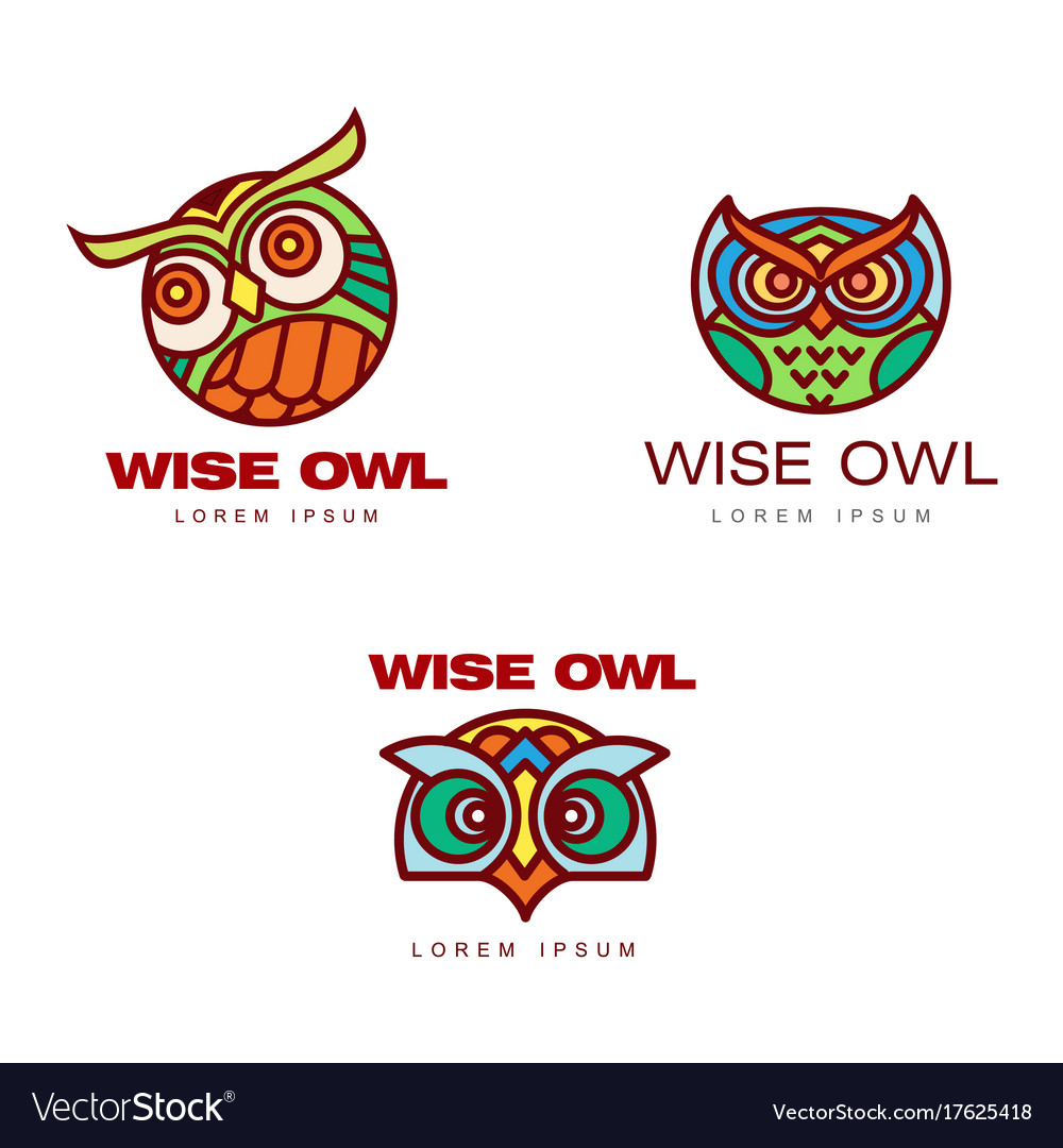 Set of logo logotype templates with owl heads vector image