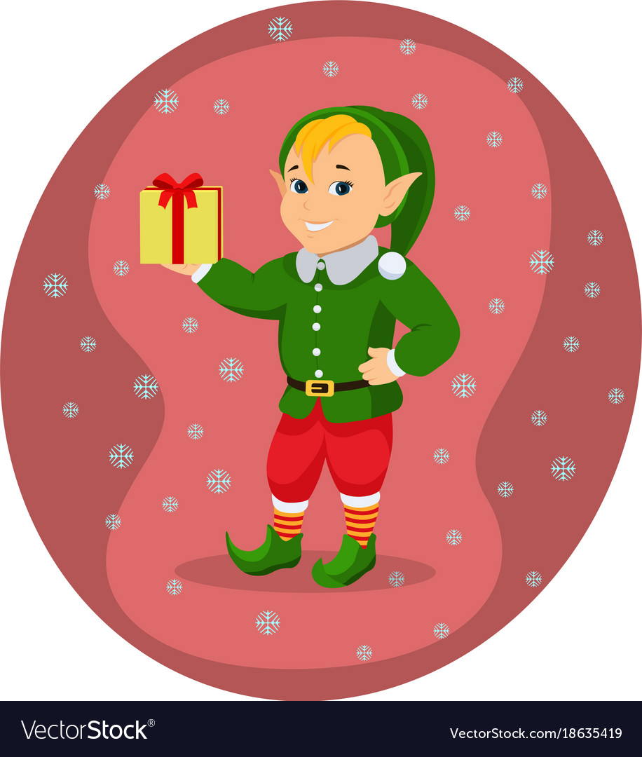 Cartoon cute christmas elf with gift box vector image