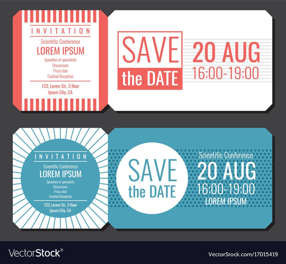 Save the date minimalist invitation ticket vector image stopboris Images