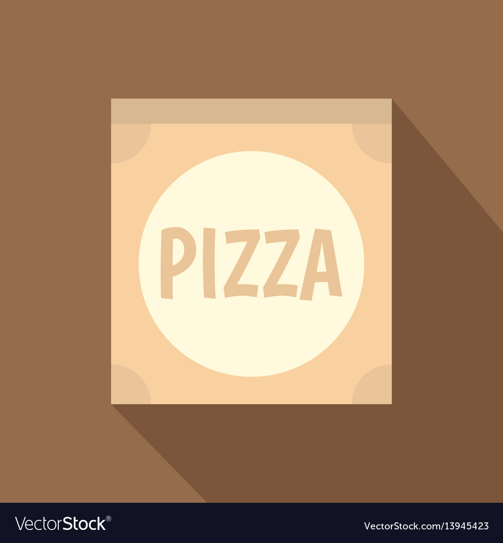 Cardboard box with pizza icon flat style vector image