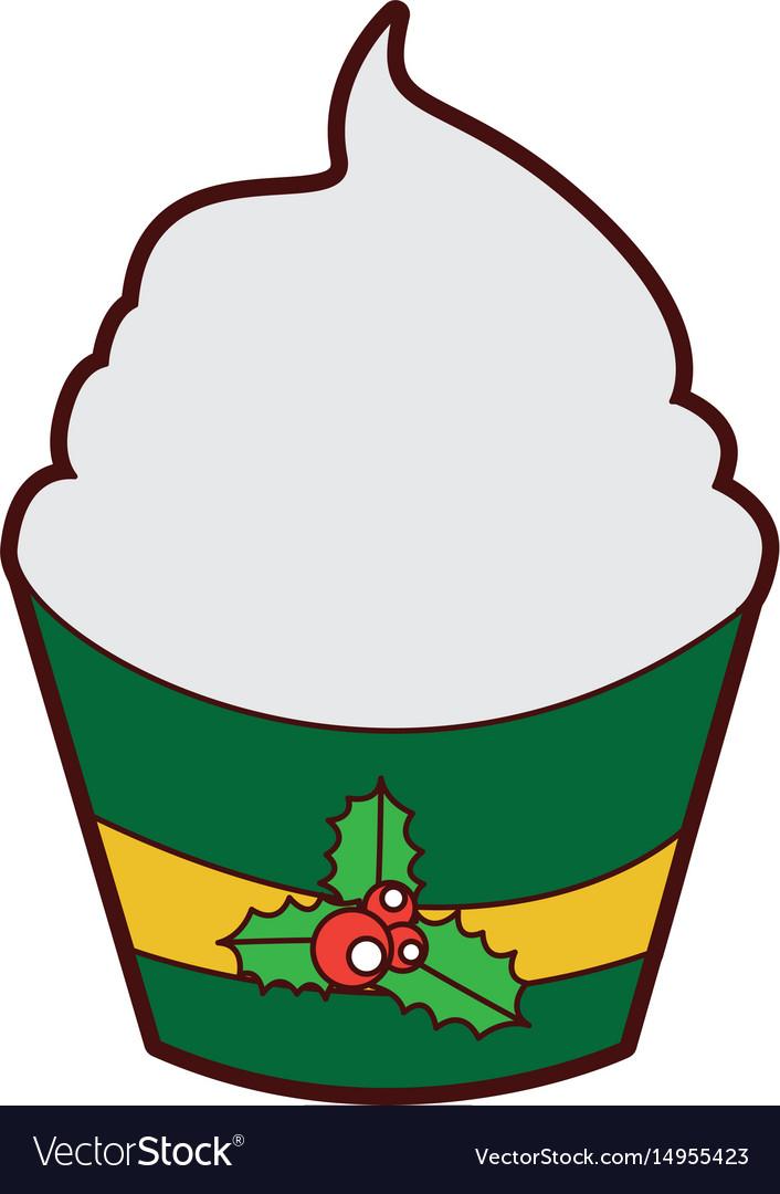 Christmas cupcake celebration icon vector image