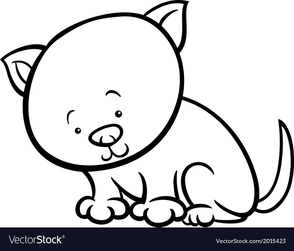 Cute kitten cartoon coloring page vector image