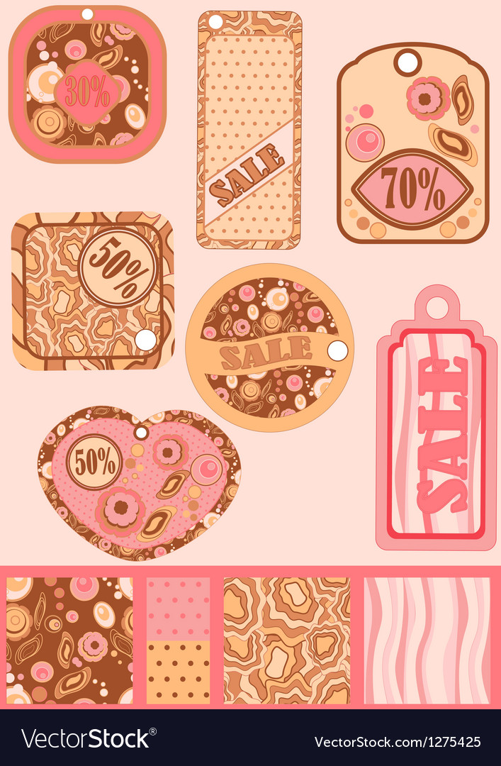 Set of retro sale tags and seamless patterns used vector image