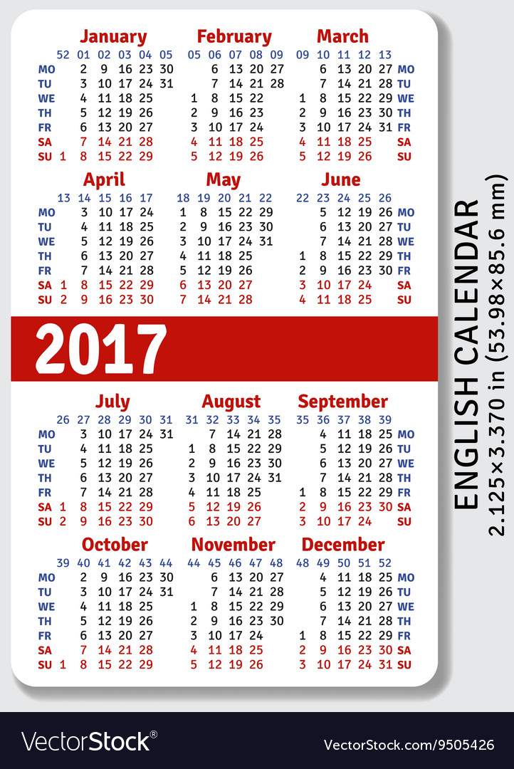 English pocket calendar for 2017 Royalty Free Vector Image