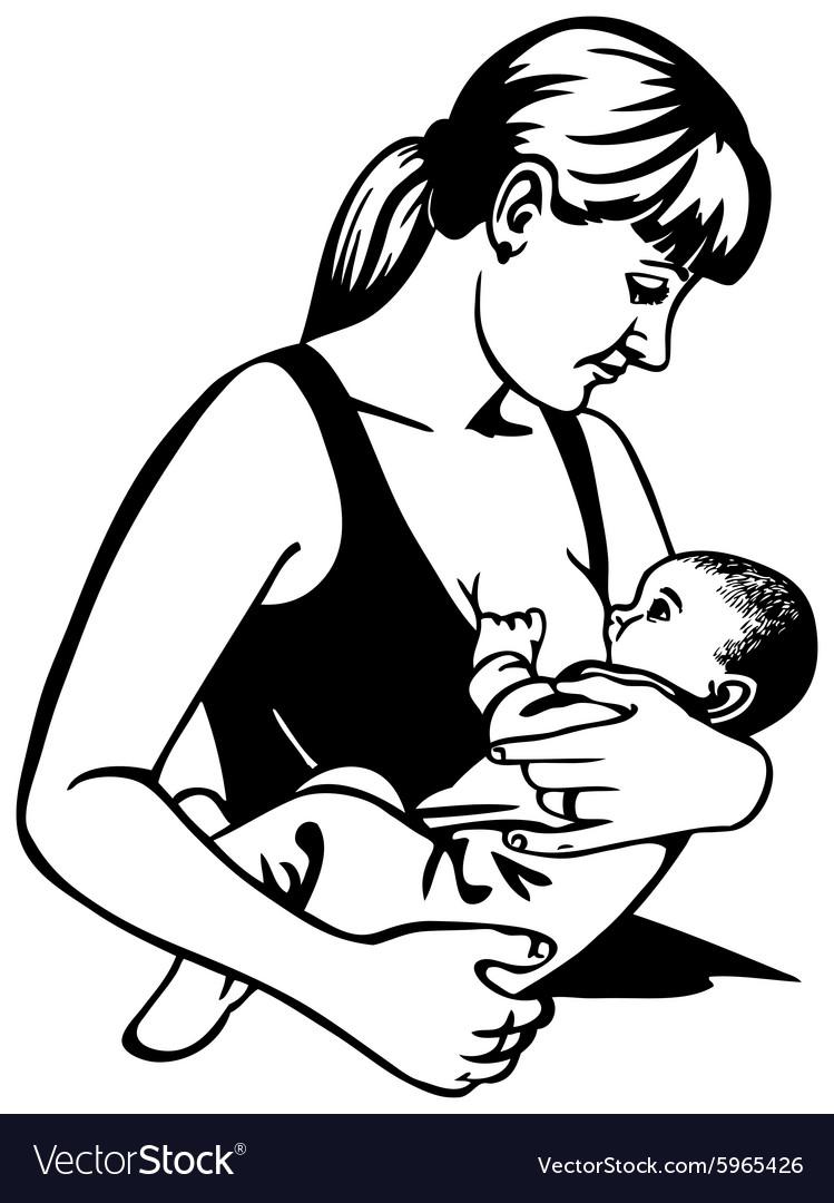 Nursing mother vector image