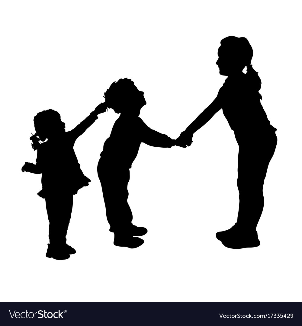 Children playing and pulls the hair silhouette vector image