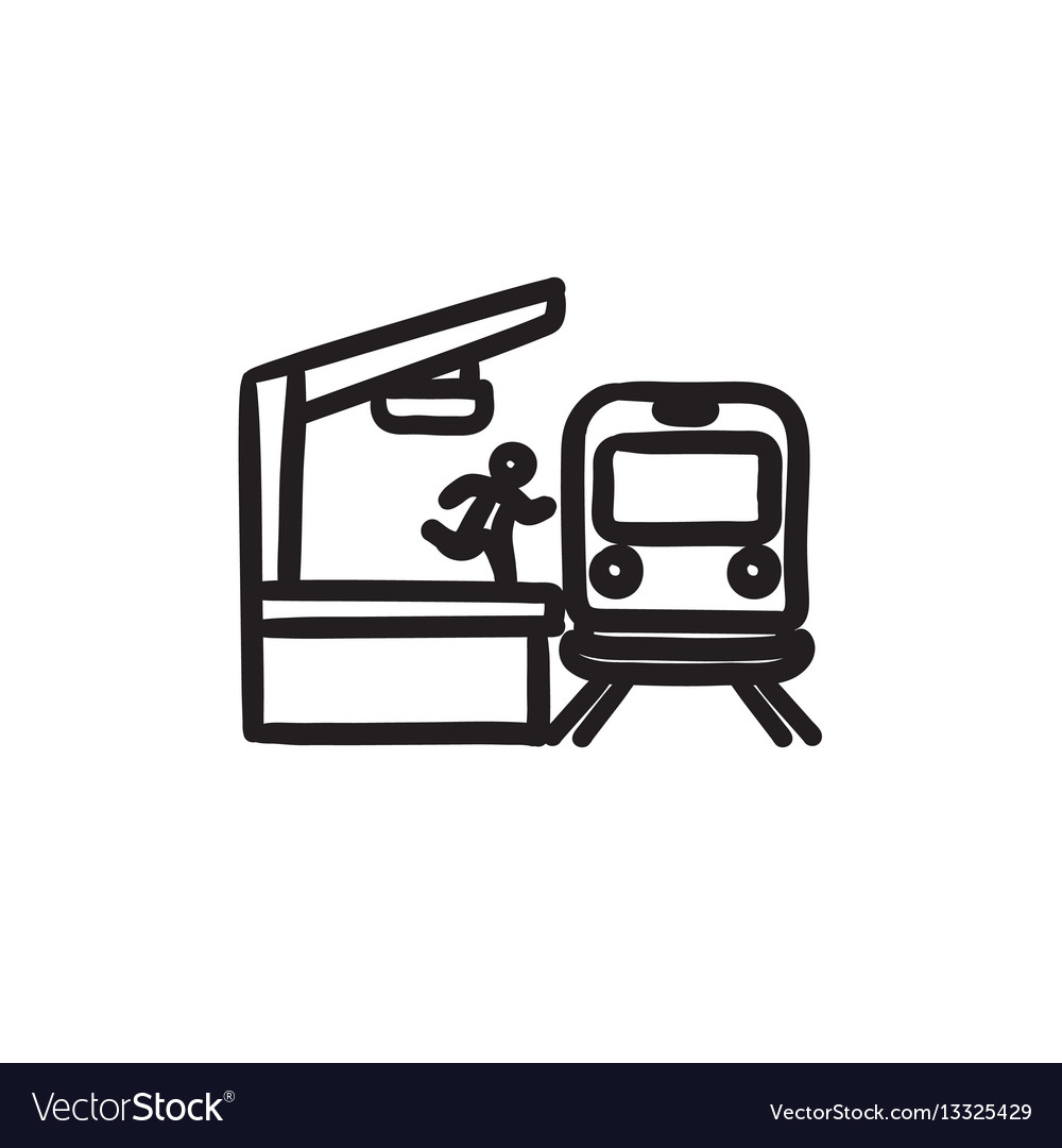 Man runs along train station platform sketch icon vector image